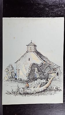 Original Antique 19th Century drawing charcoal watercolor Figure Log Church
