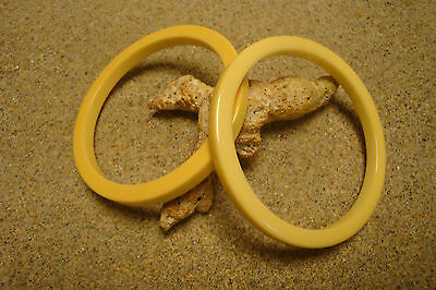 "Two Vintage 1/4""  ""Slice"" Cut Bakelite Bracelets; Solid Canary Yellow Color!!"