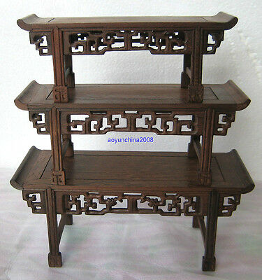 Bonsai Suiseki* Rosewood*carved Display-Talent Art For Face-3Pc