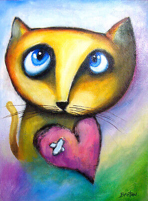 Oil Painting Cat  Canvas Original Abstract Art Free Shipping