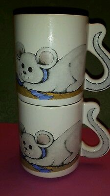 Pair vintage mice coffee mugs mouse rat tail handle tea cup animal collectibles