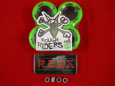 BONES ATF ROUGH RIDERS (GREEN) 56 X 60b Skateboard Wheels + BONES REDS