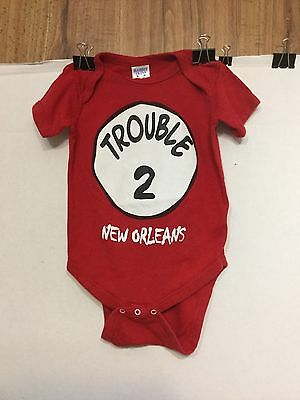 "EUC ""Trouble 2"" New Orleans One-Piece Infant Unisex/Boy/girl 12m Mint Condition"