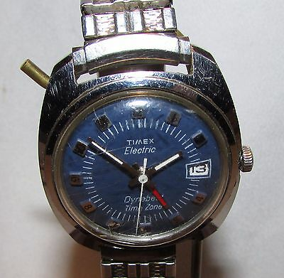 Timex Electric Dynabeat Time Zone Dual Time Zone Blue Face Watch Runs