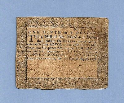 1775 $ 1/9th Dollar Annapolis Maryland Colonial Currency Very Fine Grade