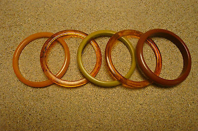 Lot of Five Vintage Bakelite Bracelets; Nice Variety of Marbled & Solid Colors!