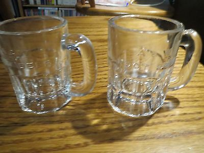 2- Vintage A&W Mugs Mini Size Embossed Glass Very Clean No Chips or Cracks