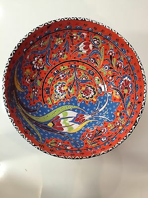 Turkish Hand Painted and Handmade Ceramic Bowl ( 30cm ), Colorful Traditional.