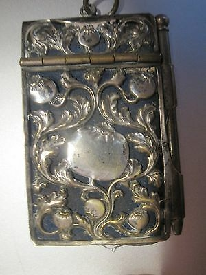 Silver  Filigree Victorian Note Pad  & Pencil Worn As Necklace Or  Waist