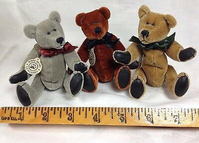 """3 Pc Boyds Bears 5"""" TF Wuzzies Jointed Tags Vintage Teddy FoxBox Lot Collectible"""
