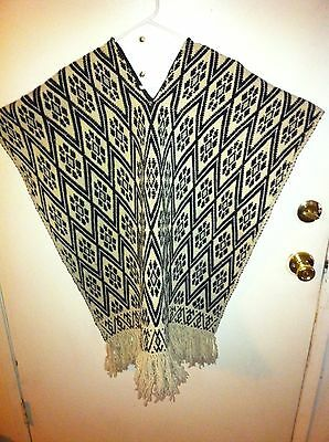 Vintage Western Style Knitted Poncho Size Large Good Bad And The Ugly