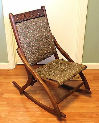 Vintage Folding Wood Rocking Chair with Fabric Seat and Back