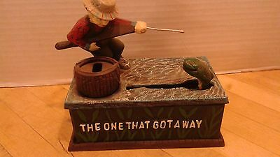 """Vintage Mechanical Bank / Fishing / """"The One That Got Away"""" / Works!"""