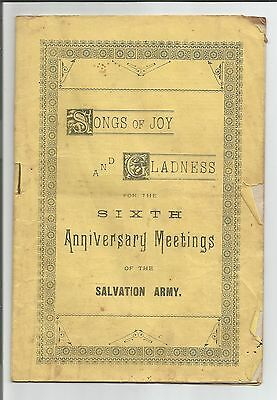 Salvation Army Sixth Anniversary Meeting, Songs of Joy and Gladness, booklet