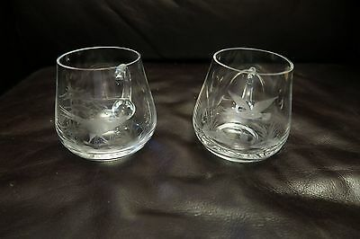 Tea Cups Glass With etched Fowls