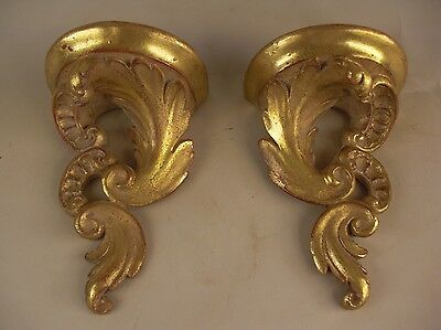 Pr Gold Gilt Scroll Wall Bracket Shelves Sconces French Italy Grand Tour Style