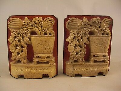 Pair Chinese Chippendale Chinoiserie Painted Ornate Bookends Grand Tour Style