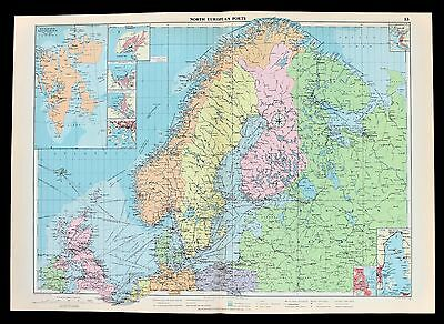1952 Sweden Norway Finland Map Europe Shipping Routes Ports Railway Routes RARE