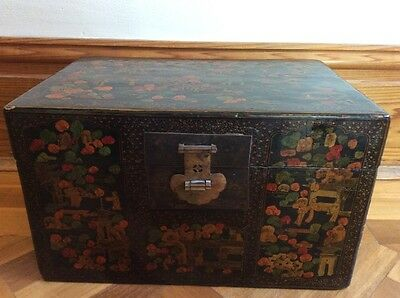 Small Chinese Antique Trunk / Chest / Box - original paintwork.