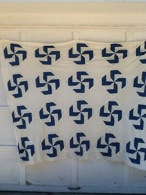antique pinwheel blue &white quilt top