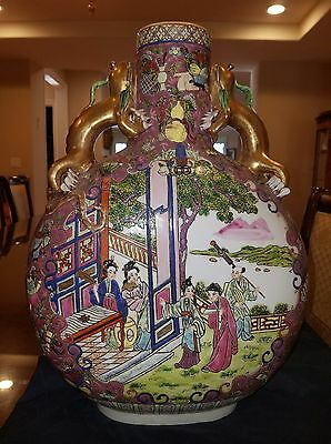 """19"""" Republic Chinese Porcelain Rose Famille  Moon Flask Dragon Handles ~Marked"""