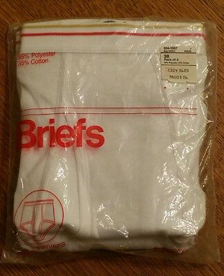 New JCPenney Towncraft Vintage 3 Pack Briefs Gold Red Stripe Size 38 Sealed NOS