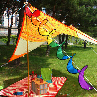 Camping Tent Foldable Rainbow Windmill Spiral Wind Spinner Home Garden Decor New