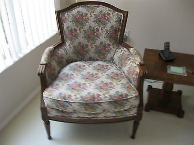 Vintage Bergere Carved Wood Arm Chair - Country Cottage Farmhouse