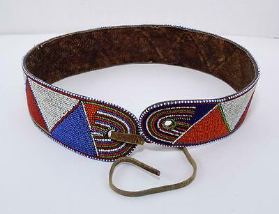 Vintage AFRICAN MASAI Beaded Leather Traditional Women's Tribal Belt