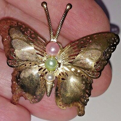 Vintage Filigree Butterfly Brooch - Etched Gold Tone & Faux Pearls - 1 3/4 inch