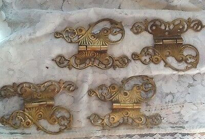 Antique Vintage Set 4 Butterfly Offset Ornate Hinges Hardware