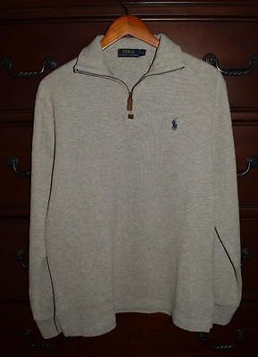 NWT!! Men's Ralph Lauren Polo Heather Gray Half Zip Pullover Sweater Size Small
