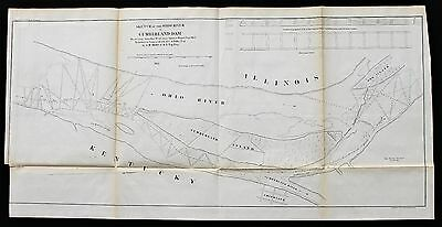 1855 Kentucky Map Cumberland Dam Smithland Dog Island Survey ORIGINAL RARE