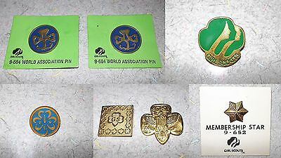 Vintage Lot of 7 Girl Scout Pins Membership Star 1980 Green Face Gold Eagle