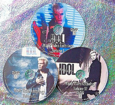 Pin & FREE BILLY IDOL Music Video Collection 3 DVD Set 1977 to 2015 Generation X