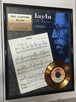 """Eric Clapton """"lalya"""" Limited Edition 24Kt Gold Plated Record"""
