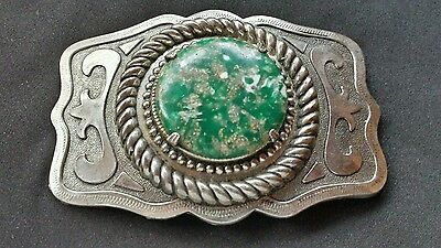 Western Green White Colored Stone Insert Belt Buckle Silver Toned Background