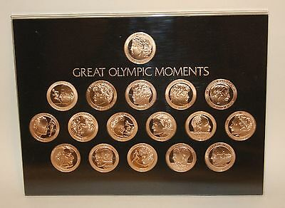 1972 Franklin Mint Coca-Cola Great Olympic Moments 17 Bronze Coin Medal Set