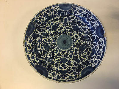 Antique 18th Century Delft Blue & White Large Ceramic Charger 14""