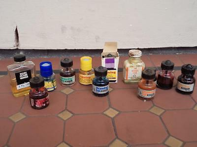 Large Collection of 12 Vintage High End Drawing Inks Reeves Pelikan Art & Craft