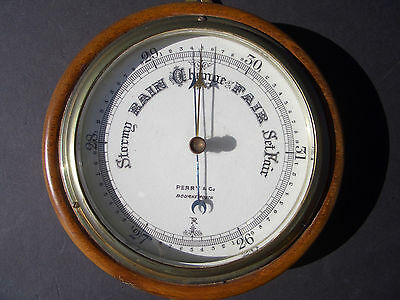 Vintage Aneroid Barometer, Perry & Co., Bournemouth, England, Hardwood Case