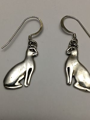 Vintage Sterling Silver Cats With 925 Earring Hoops