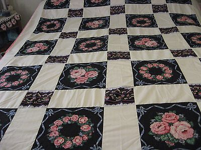 Patchwork Quilt Top Floral and Off/White Blocks  91''X 70""