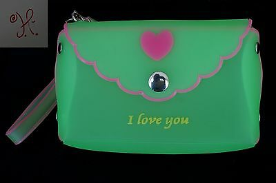 New Girls Green Pink Jelly Frosted Candy Silicone Handbag Purse Hearts Small