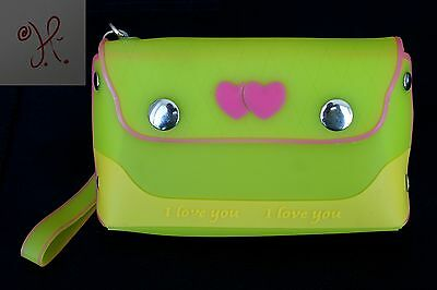 New Girls Yellow Pink Jelly Frosted Candy Silicone Handbag Purse Hearts Small