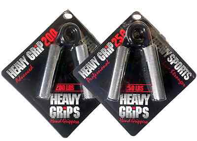 Heavy Grips Men's Hand Gripper Set - Sliver/Black, Size 200 & 250 Free Shipping