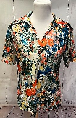 Yves Jennet * Vintage Retro * Floral Butterfly Mushroom * Top * Size 12