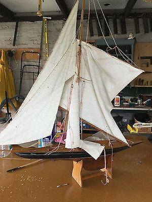 Vintage Very Large Sailing Wooden Yacht Model
