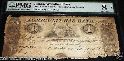 1834,agricultural Bank ,toronto Canada $4,scarce Banknote  Pmg 8