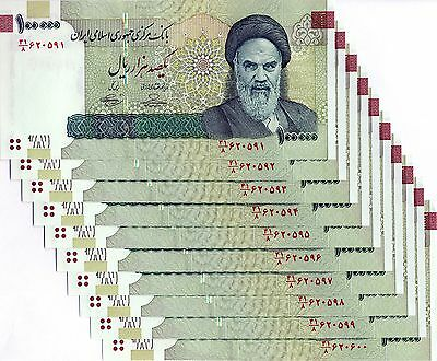 LOT Iran 10 x 100000 Rials 2018 Authentic Genuine Crisp Uncirculated - FAST SHIP